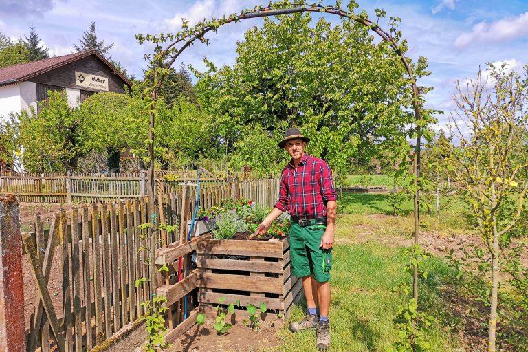 Gärtner in der Baumschule